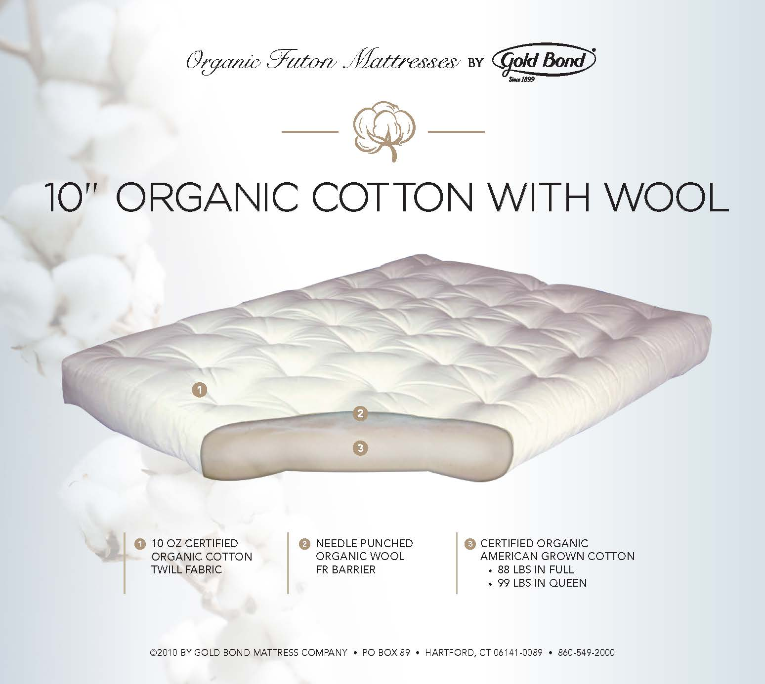 10 Quot Organic Cotton With Wool The Futon Store And